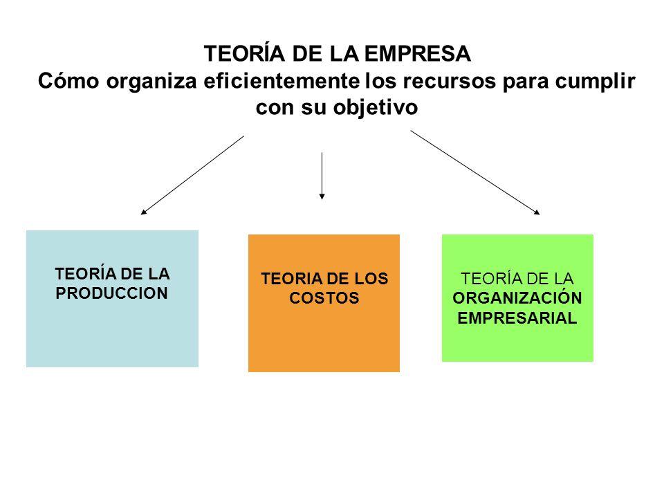 TEORÍA DE LA EMPRESA Cómo organiza eficientemente los recursos para cumplir con su objetivo