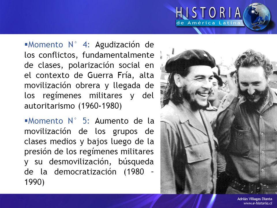 Momento N° 4: Agudización de los conflictos, fundamentalmente de clases, polarización social en el contexto de Guerra Fría, alta movilización obrera y llegada de los regímenes militares y del autoritarismo (1960-1980)