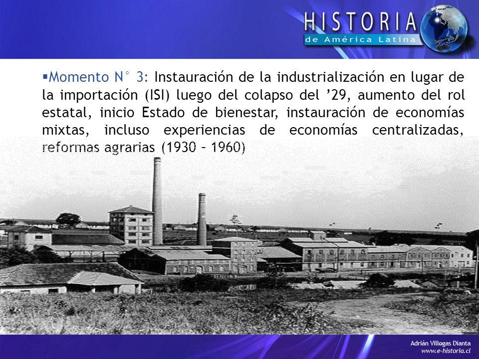 Momento N° 3: Instauración de la industrialización en lugar de la importación (ISI) luego del colapso del '29, aumento del rol estatal, inicio Estado de bienestar, instauración de economías mixtas, incluso experiencias de economías centralizadas, reformas agrarias (1930 – 1960)