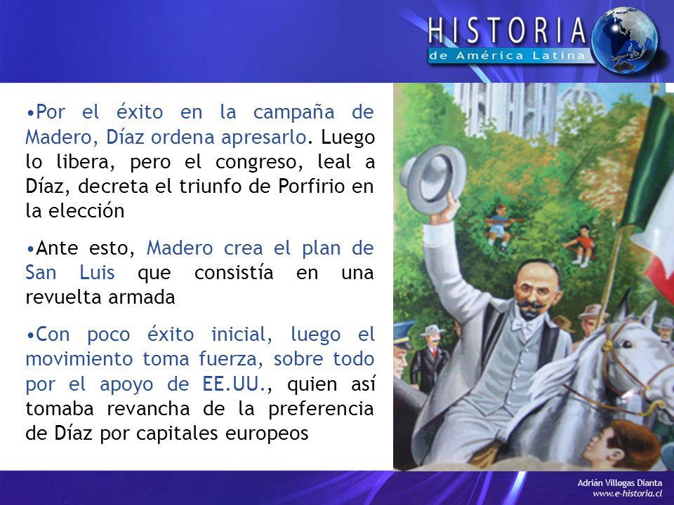 Por el éxito en la campaña de Madero, Díaz ordena apresarlo
