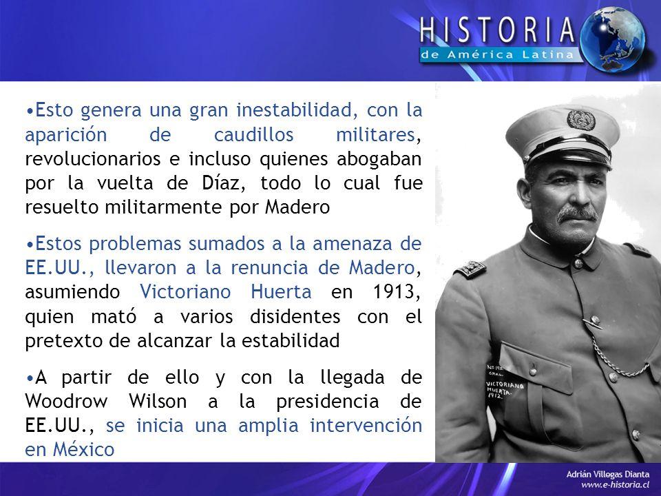 Esto genera una gran inestabilidad, con la aparición de caudillos militares, revolucionarios e incluso quienes abogaban por la vuelta de Díaz, todo lo cual fue resuelto militarmente por Madero