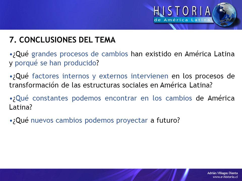 7. CONCLUSIONES DEL TEMA ¿Qué grandes procesos de cambios han existido en América Latina y porqué se han producido