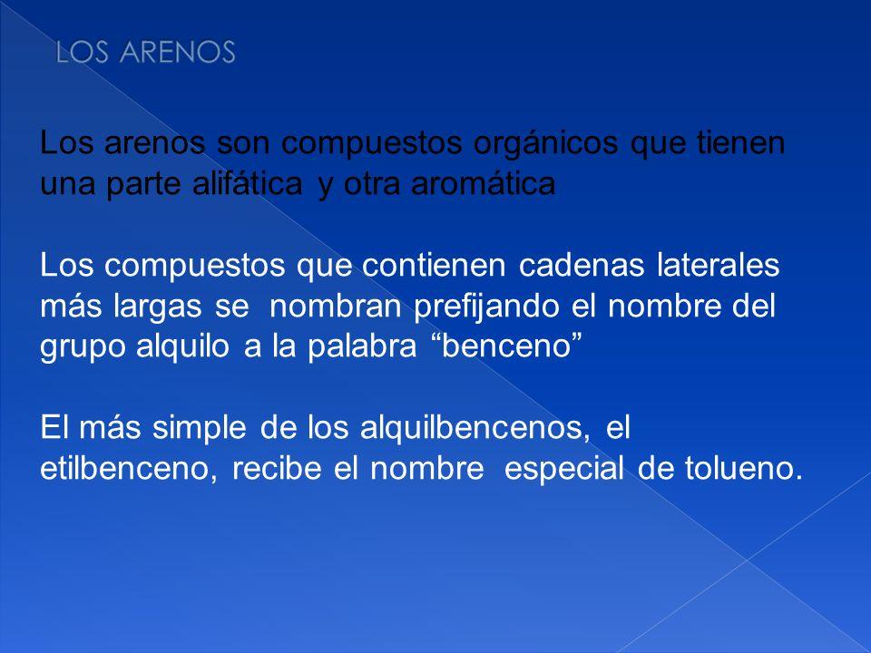 LOS ARENOS Los arenos son compuestos orgánicos que tienen una parte alifática y otra aromática.