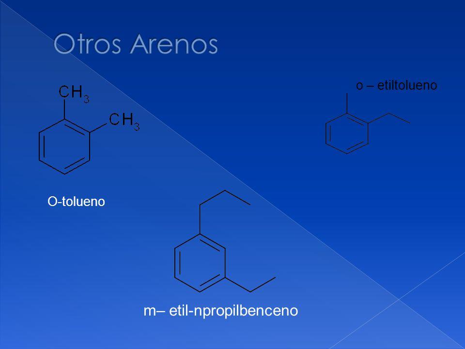 Otros Arenos o – etiltolueno O-tolueno m– etil-npropilbenceno