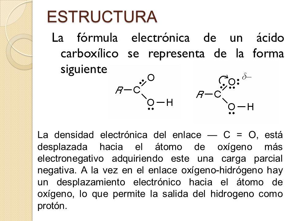 ESTRUCTURA La fórmula electrónica de un ácido carboxílico se representa de la forma siguiente: