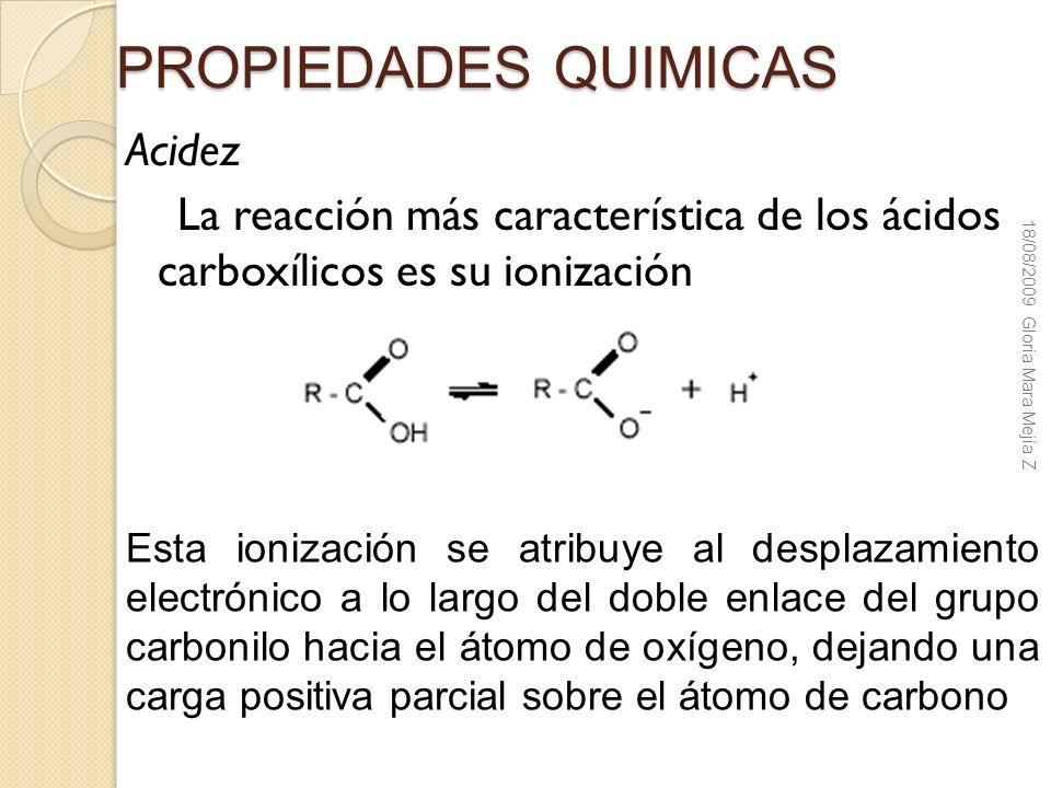 PROPIEDADES QUIMICAS Acidez La reacción más característica de los ácidos carboxílicos es su ionización