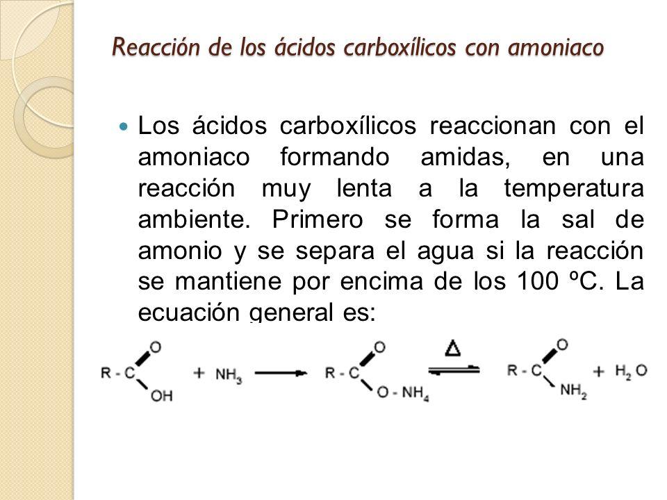 Reacción de los ácidos carboxílicos con amoniaco