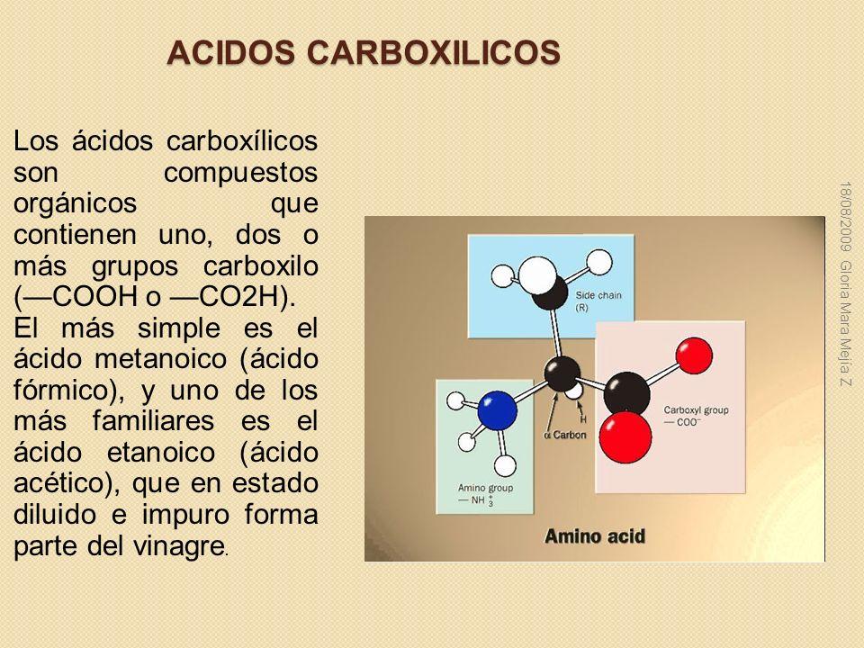 ACIDOS CARBOXILICOS Los ácidos carboxílicos son compuestos orgánicos que contienen uno, dos o más grupos carboxilo (—COOH o —CO2H).