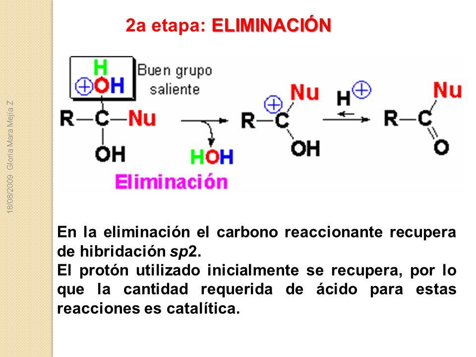 2a etapa: ELIMINACIÓN 18/08/2009 Gloria Mara Mejía Z. En la eliminación el carbono reaccionante recupera de hibridación sp2.
