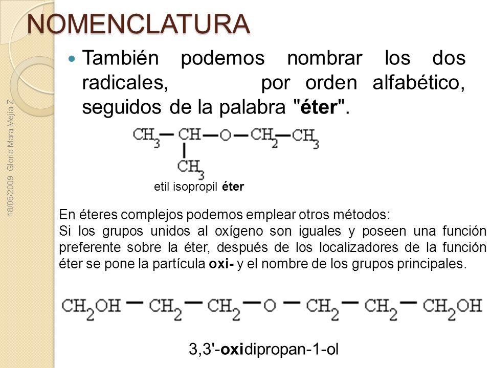 NOMENCLATURA También podemos nombrar los dos radicales, por orden alfabético, seguidos de la palabra éter .