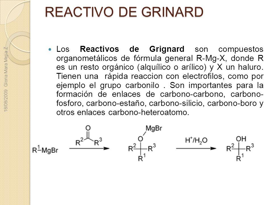 REACTIVO DE GRINARD 18/08/2009 Gloria Mara Mejía Z.