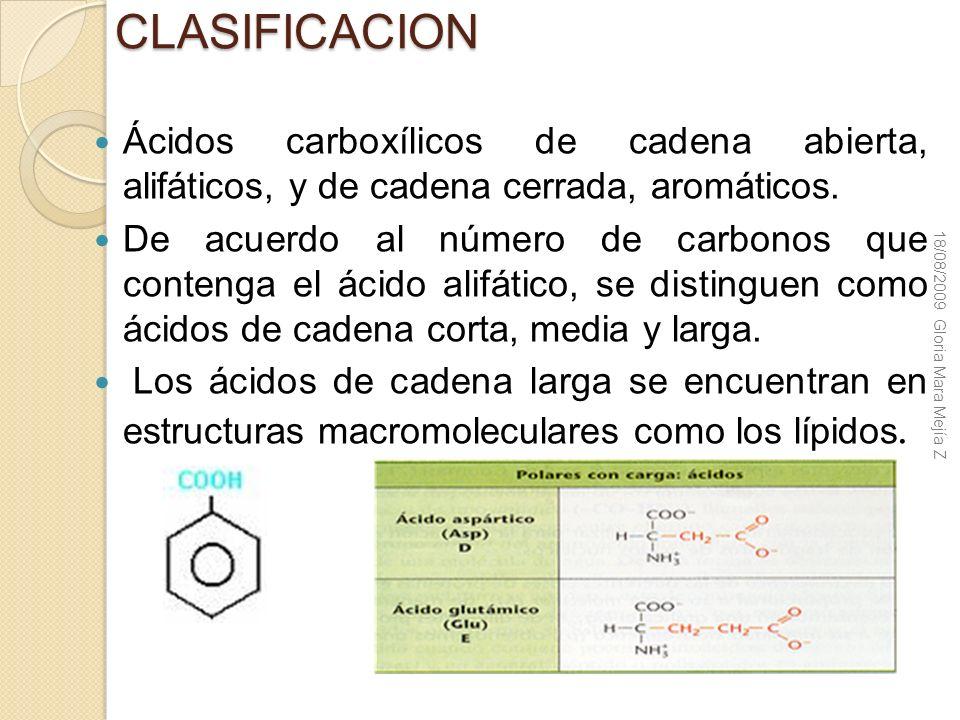 CLASIFICACION Ácidos carboxílicos de cadena abierta, alifáticos, y de cadena cerrada, aromáticos.