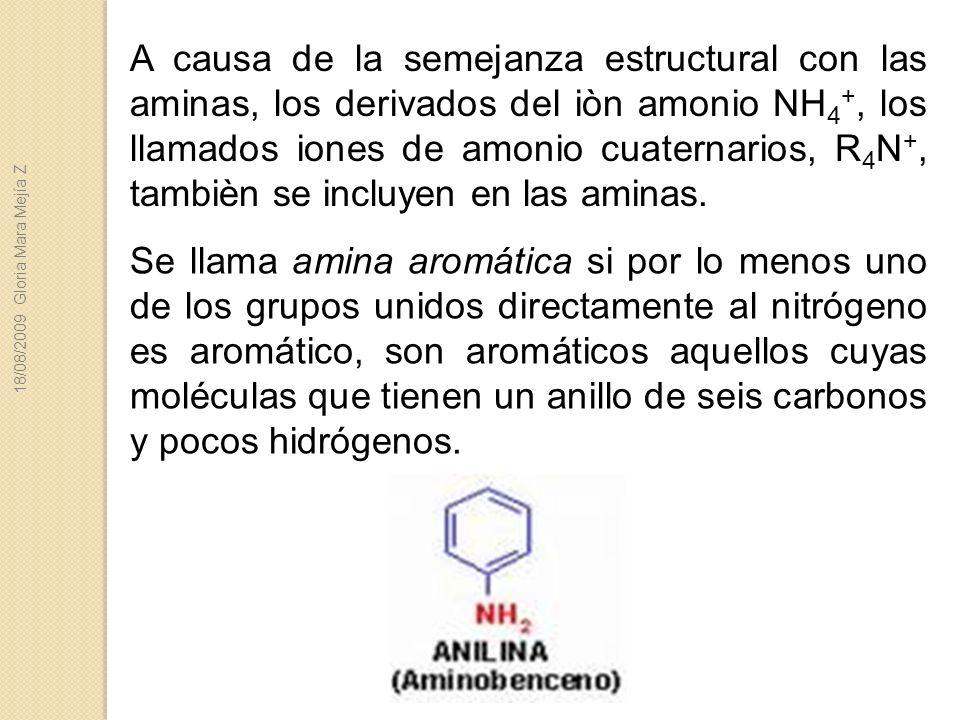 A causa de la semejanza estructural con las aminas, los derivados del iòn amonio NH4+, los llamados iones de amonio cuaternarios, R4N+, tambièn se incluyen en las aminas.