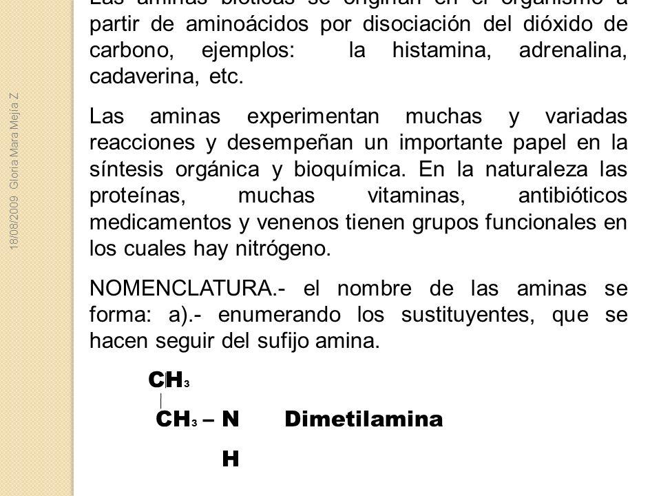 Las aminas bióticas se originan en el organismo a partir de aminoácidos por disociación del dióxido de carbono, ejemplos: la histamina, adrenalina, cadaverina, etc.