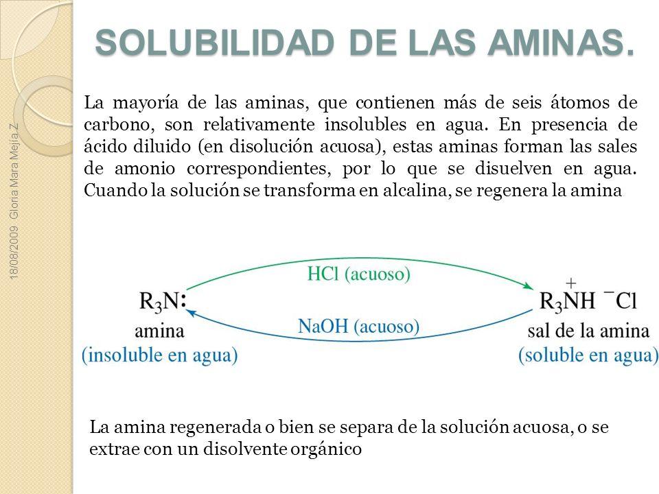 SOLUBILIDAD DE LAS AMINAS.