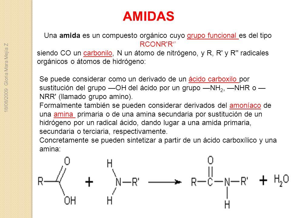AMIDAS Una amida es un compuesto orgánico cuyo grupo funcional es del tipo RCONR R''