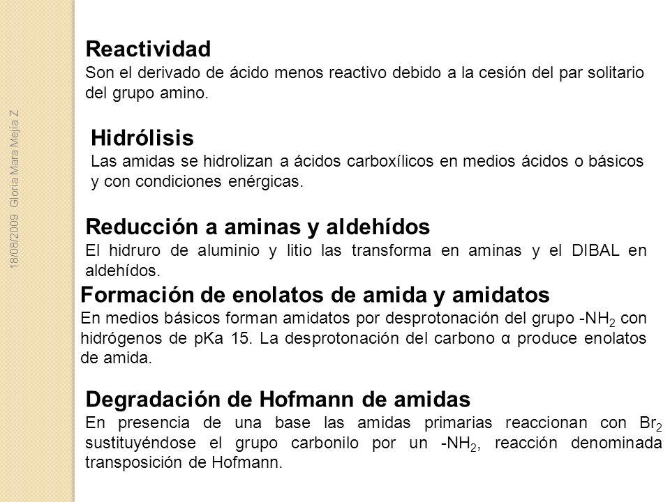 Reducción a aminas y aldehídos
