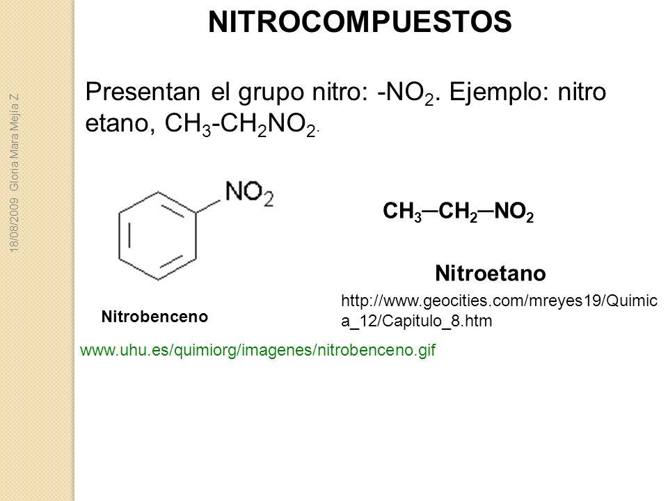 NITROCOMPUESTOS Presentan el grupo nitro: -NO2. Ejemplo: nitro etano, CH3-CH2NO2. 18/08/2009 Gloria Mara Mejía Z.