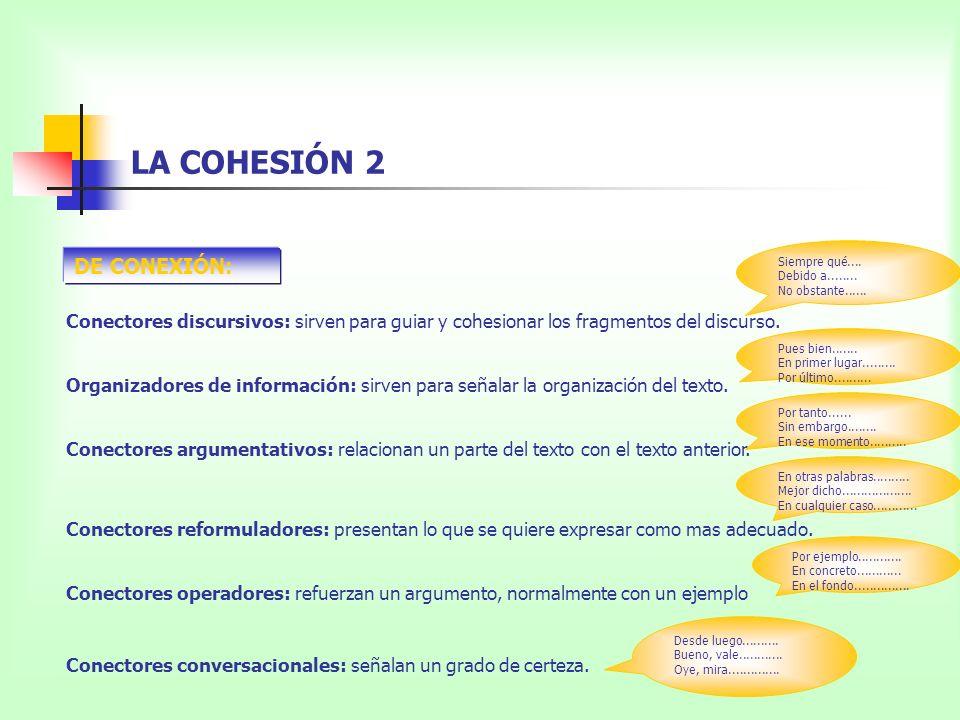 LA COHESIÓN 2 DE CONEXIÓN: