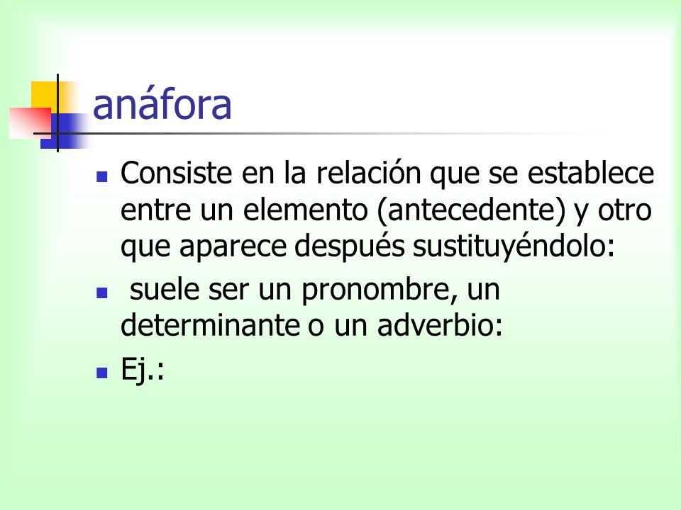 anáfora Consiste en la relación que se establece entre un elemento (antecedente) y otro que aparece después sustituyéndolo:
