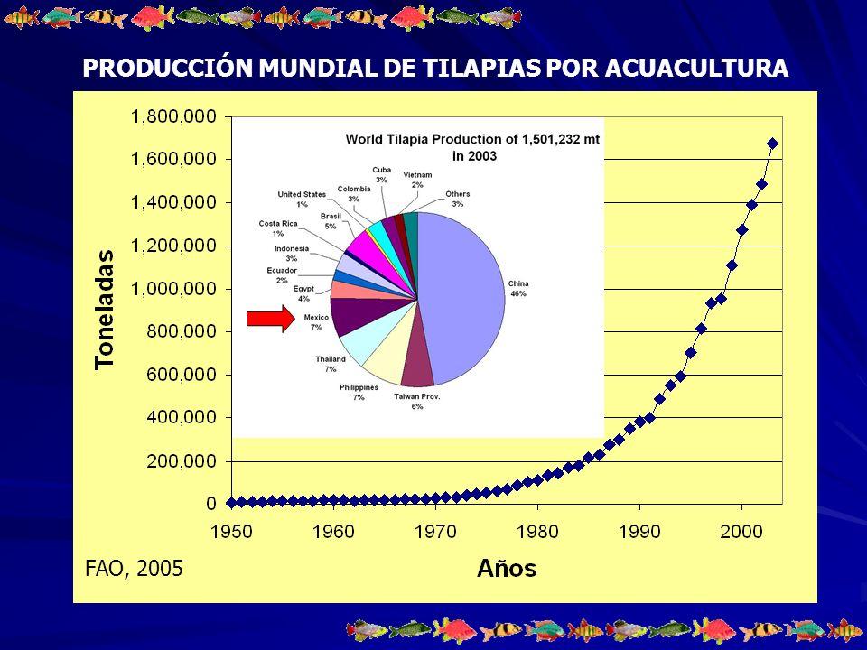 PRODUCCIÓN MUNDIAL DE TILAPIAS POR ACUACULTURA