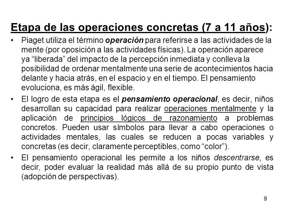 Etapa de las operaciones concretas (7 a 11 años):