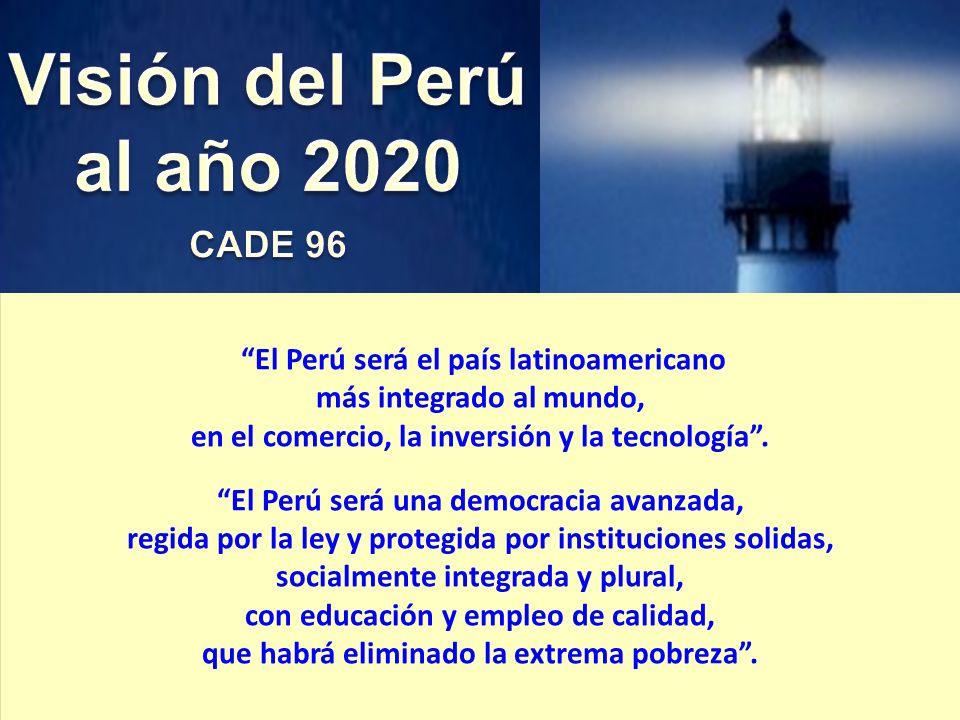Visión del Perú al año 2020 CADE 96. El Perú será el país latinoamericano más integrado al mundo, en el comercio, la inversión y la tecnología .