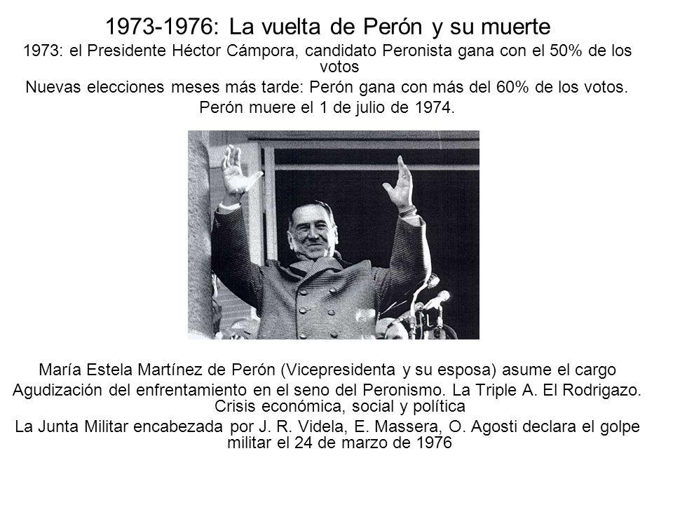 1973-1976: La vuelta de Perón y su muerte