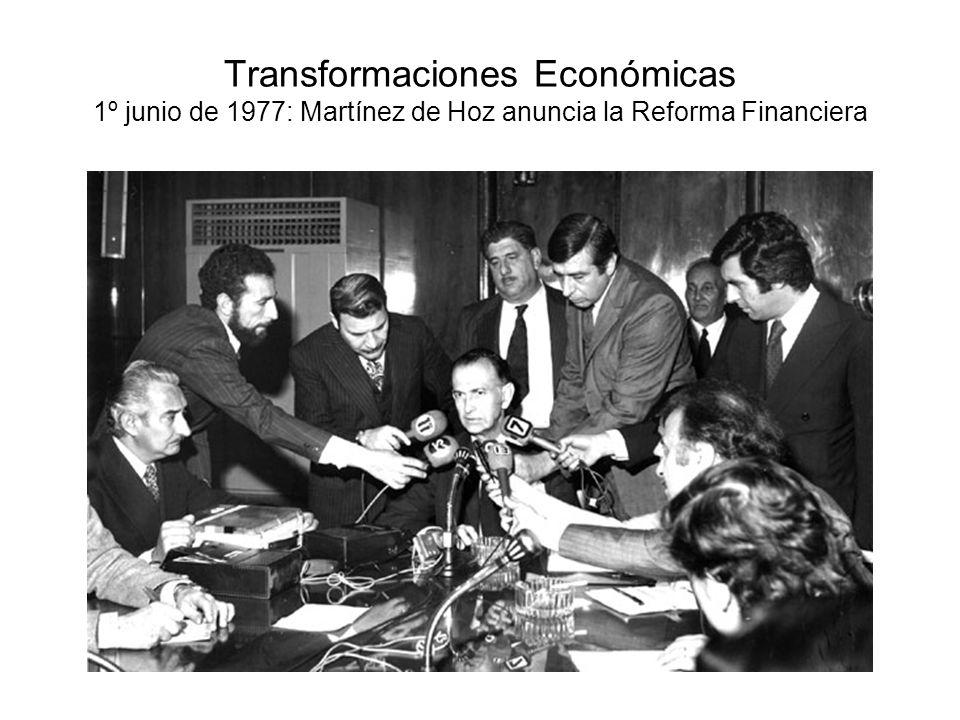 Transformaciones Económicas 1º junio de 1977: Martínez de Hoz anuncia la Reforma Financiera