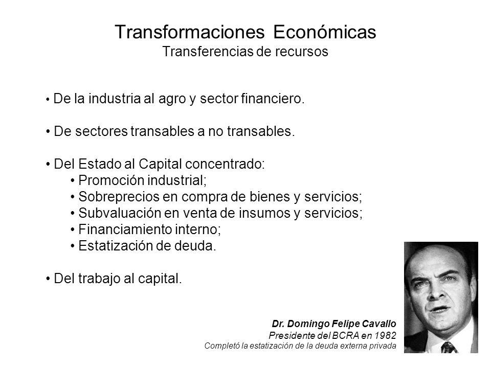 Transformaciones Económicas Transferencias de recursos