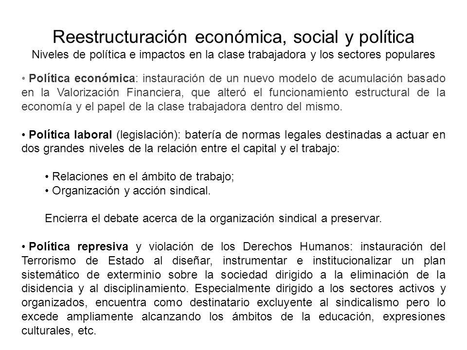 Reestructuración económica, social y política Niveles de política e impactos en la clase trabajadora y los sectores populares