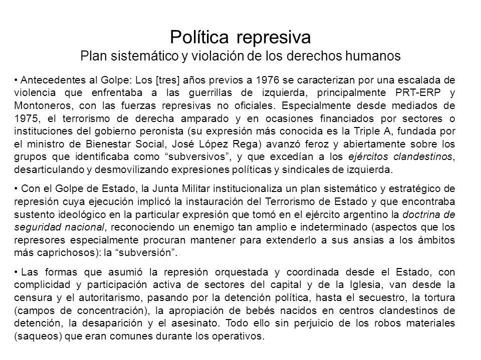 Política represiva Plan sistemático y violación de los derechos humanos