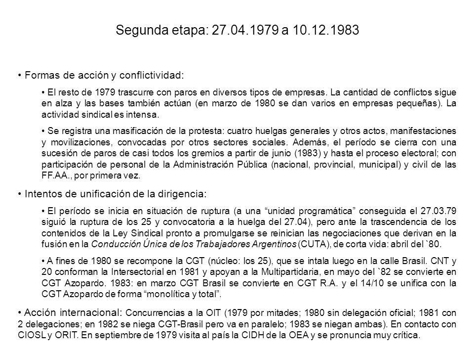 Segunda etapa: 27.04.1979 a 10.12.1983 Formas de acción y conflictividad: