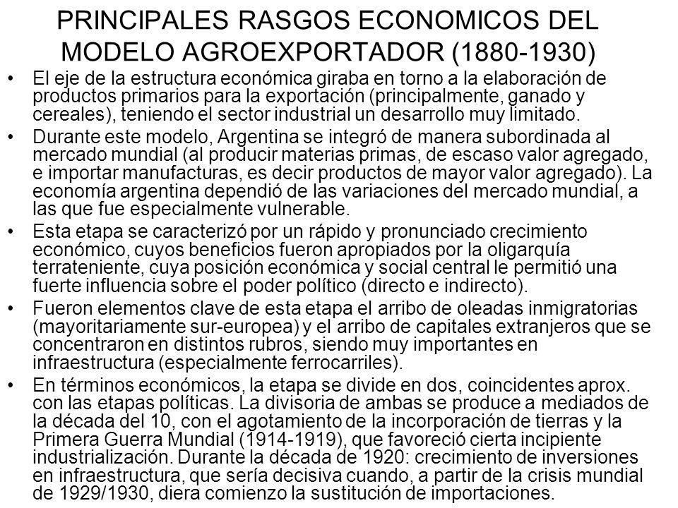 PRINCIPALES RASGOS ECONOMICOS DEL MODELO AGROEXPORTADOR (1880-1930)