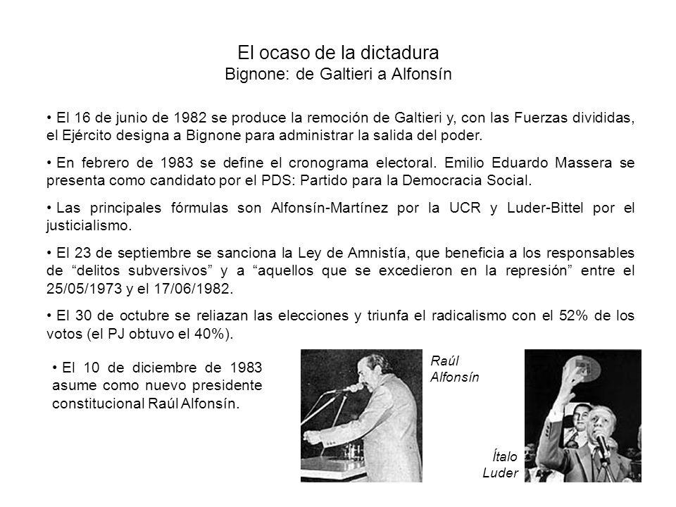 El ocaso de la dictadura Bignone: de Galtieri a Alfonsín