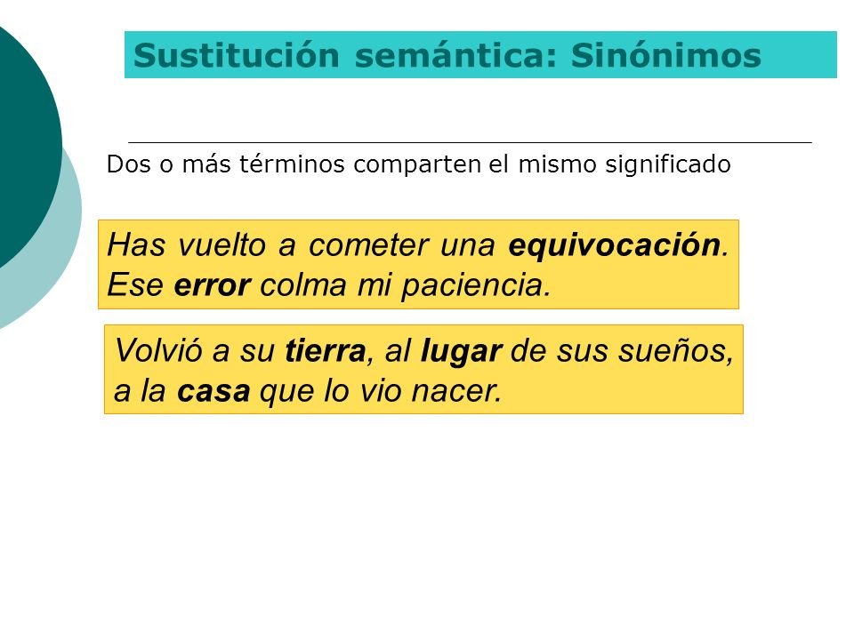 Sustitución semántica: Sinónimos