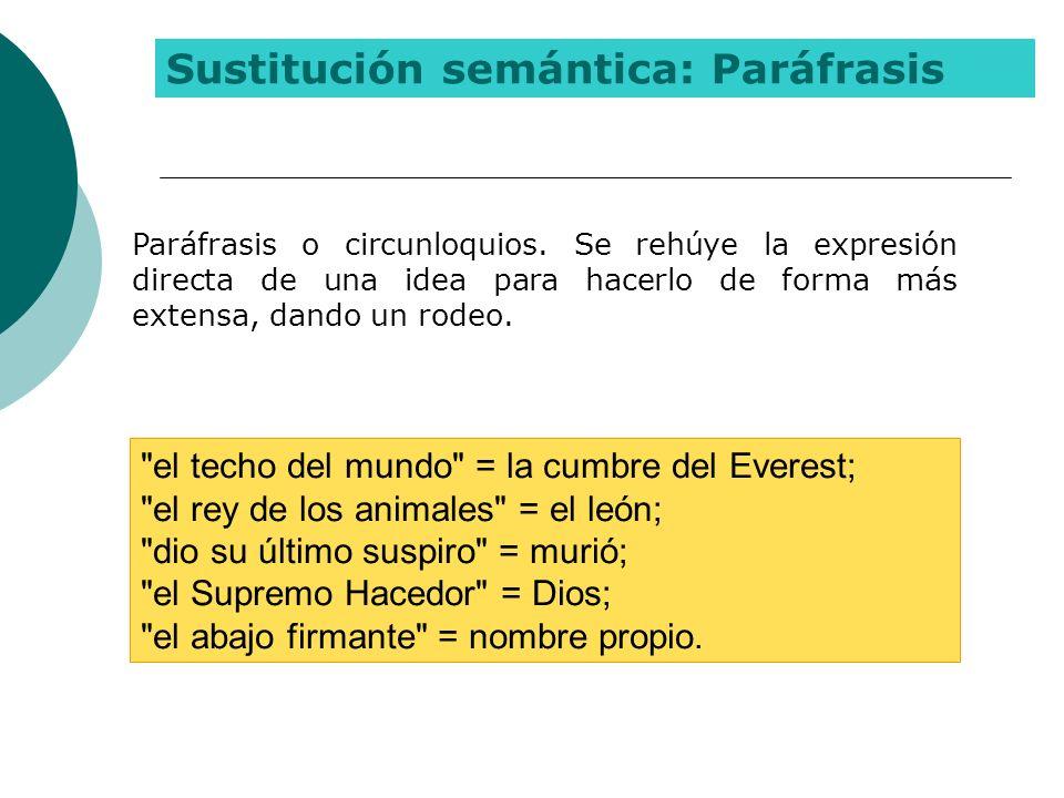 Sustitución semántica: Paráfrasis