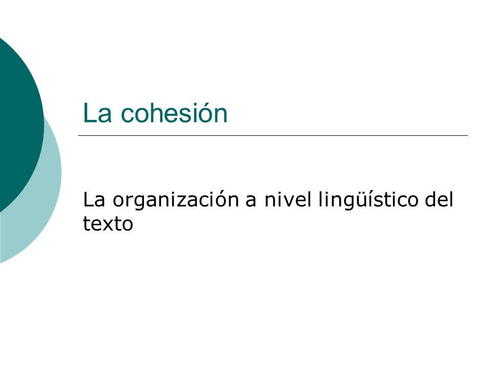 La organización a nivel lingüístico del texto