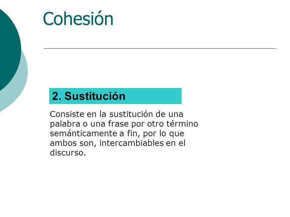 Cohesión 2. Sustitución.