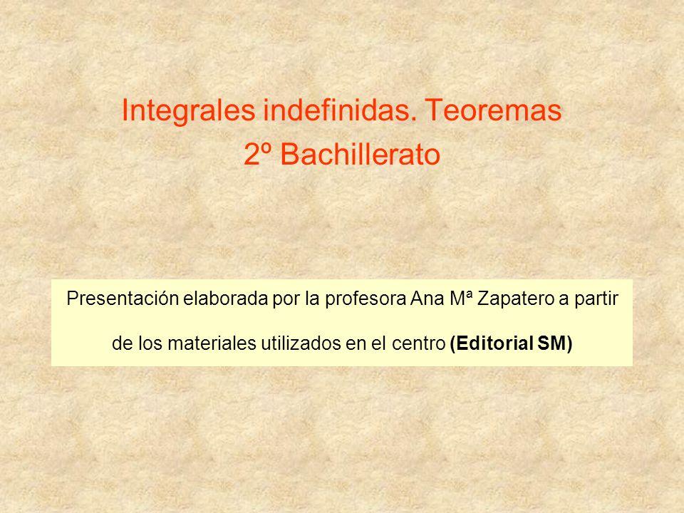 Integrales indefinidas. Teoremas 2º Bachillerato