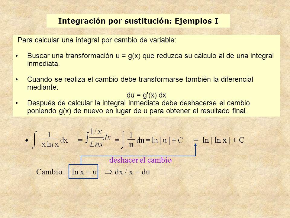Integración por sustitución: Ejemplos I