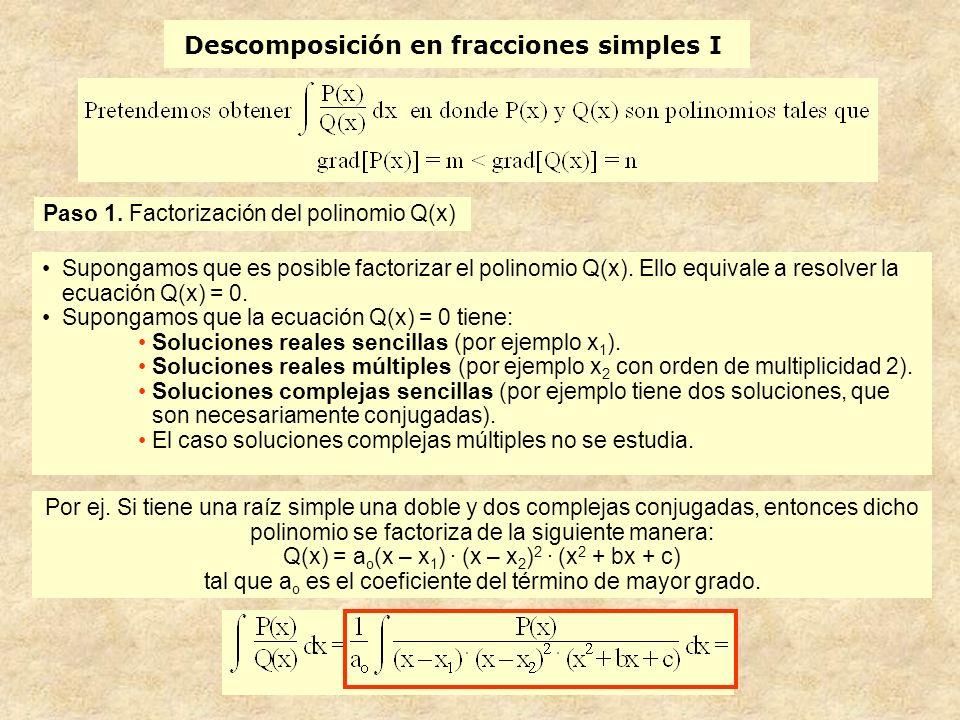 Descomposición en fracciones simples I