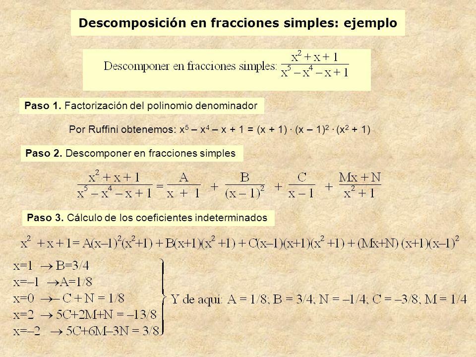 Descomposición en fracciones simples: ejemplo