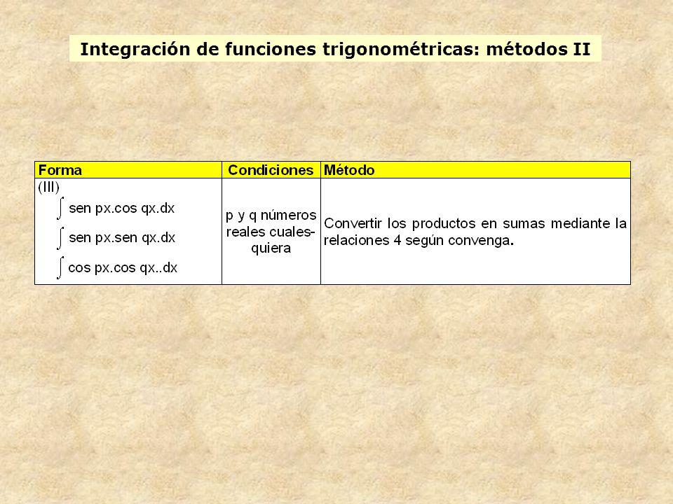Integración de funciones trigonométricas: métodos II