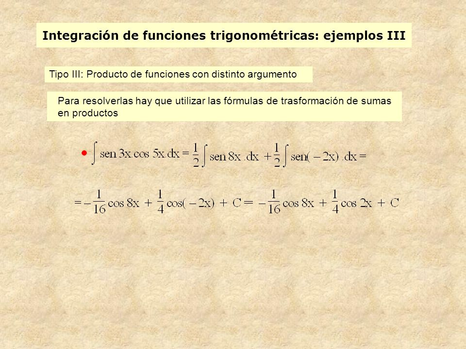 Integración de funciones trigonométricas: ejemplos III