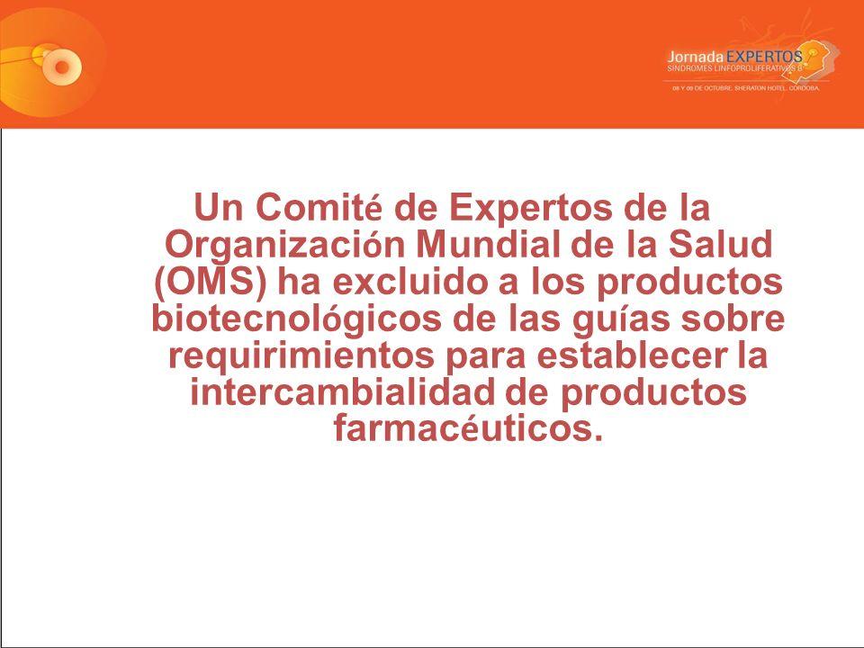 Un Comité de Expertos de la Organización Mundial de la Salud (OMS) ha excluido a los productos biotecnológicos de las guías sobre requirimientos para establecer la intercambialidad de productos farmacéuticos.