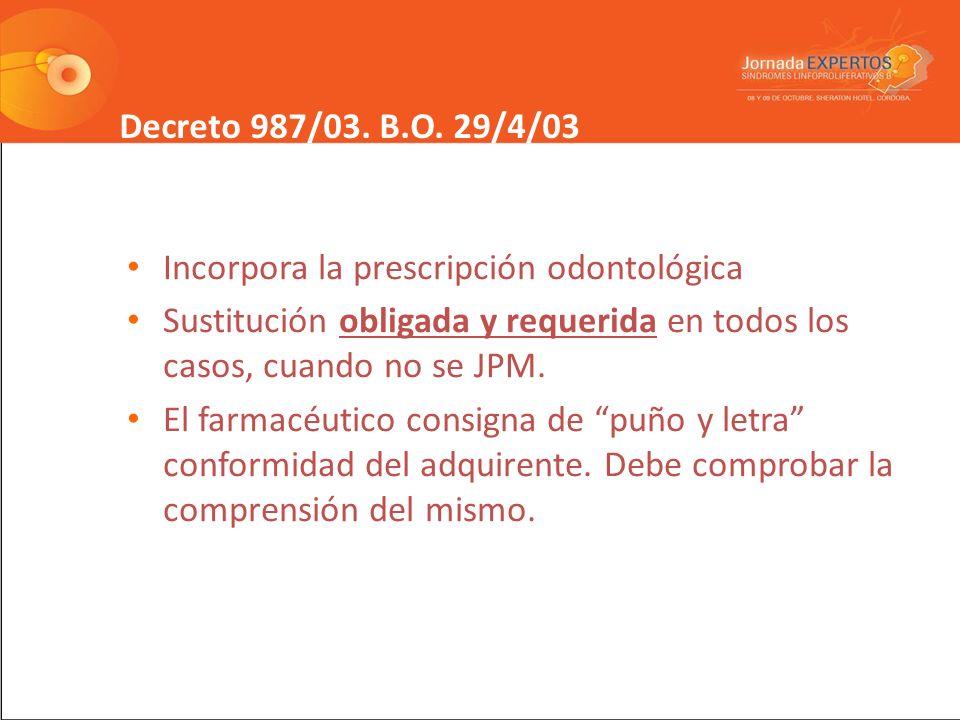 Decreto 987/03. B.O. 29/4/03 Incorpora la prescripción odontológica. Sustitución obligada y requerida en todos los casos, cuando no se JPM.