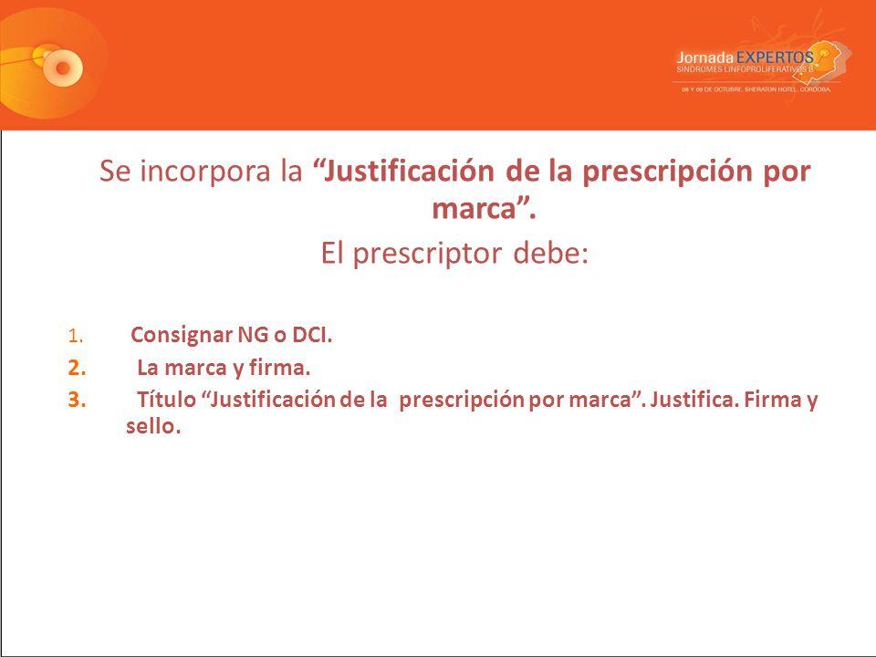 Se incorpora la Justificación de la prescripción por marca .