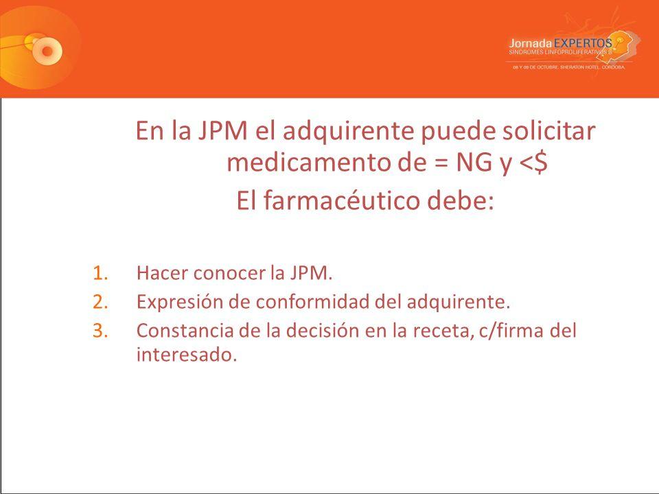 En la JPM el adquirente puede solicitar medicamento de = NG y <$