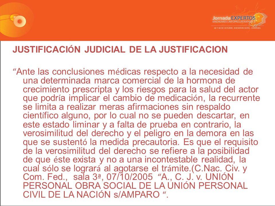 JUSTIFICACIÓN JUDICIAL DE LA JUSTIFICACION